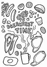 Coloring Breakfast Pages Printable Colouring Dinner Card Beans Pepper Drawing Dr Baked Adult Cards English Invitation Print Digital Bacon Draw sketch template