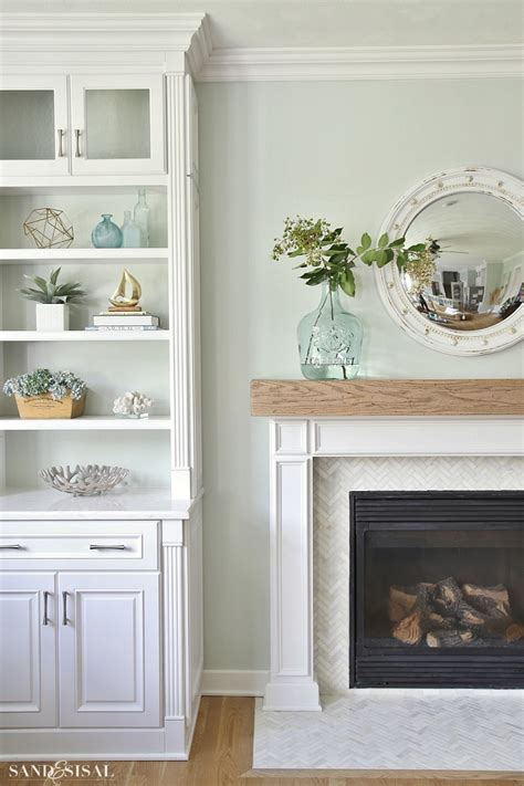 coastal family room  fireplace makeover sand  sisal