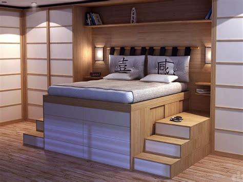 Lit Double En Bois Avec Rangement Impero By Cinius Design