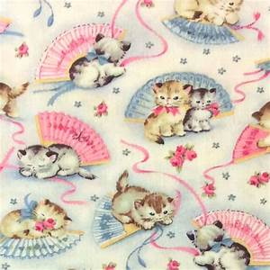 Kitty Cat Kittens Rare Retro Vintage Style Cotton Quilting ...