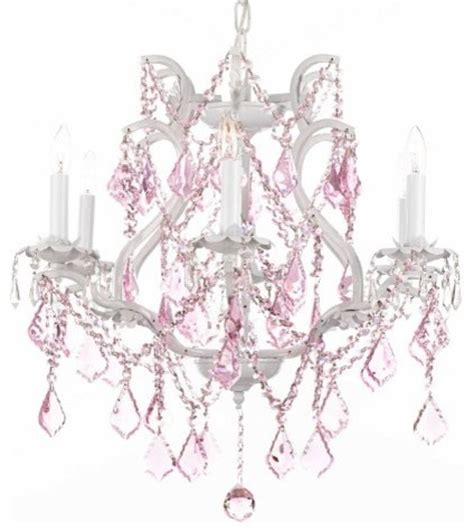 white wrought iron chandelier lighting with pink