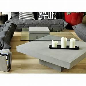 Table Basse En Beton : table basse carr e en verre et b ton verveine by drawer ~ Farleysfitness.com Idées de Décoration