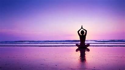 Yoga Sunset Beach Purple Wallpapers Nature Background