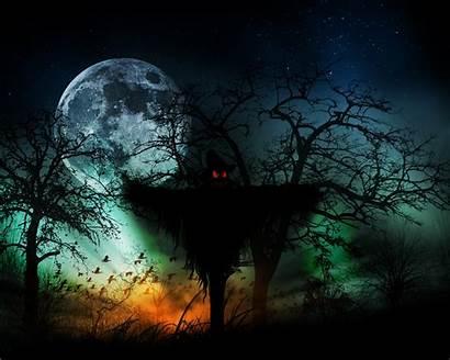 Creepy Halloween Wallpapers Horror Moon Scarecrow Artwork