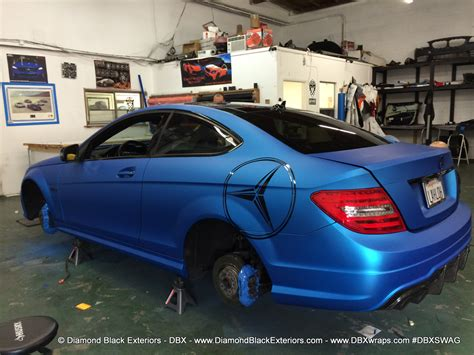 mercedes benz  amg wrapped  matte blue aluminum