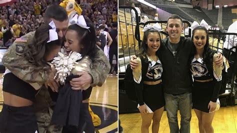 military dad surprises  twin daughters   cheer