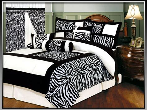 7 pcs black white zebra skin micro fur comforter set bed