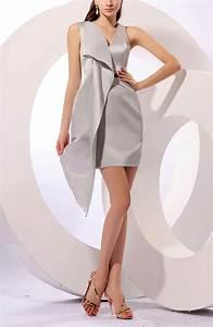 silver sexy sleeveless zip up satin mini short ribbon With robe droite ceremonie