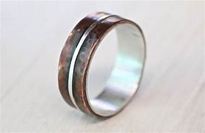 men39s silver copper wedding band copper engagement ring With mens copper wedding rings