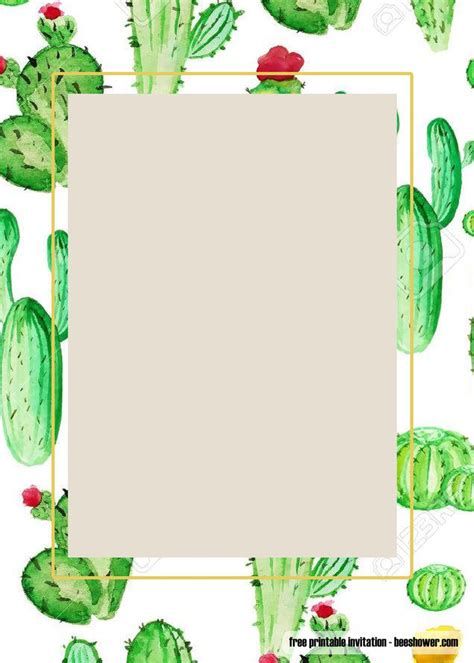printable cactus baby shower invitations