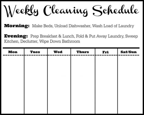weekly cleaning schedule template cleaning schedule template 12 free sle exle format free premium templates