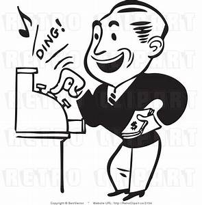 """Retro Man Operating a Cash Register Making a """"Ding!"""" Noise ..."""