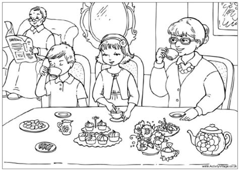 tea  grandparents colouring page