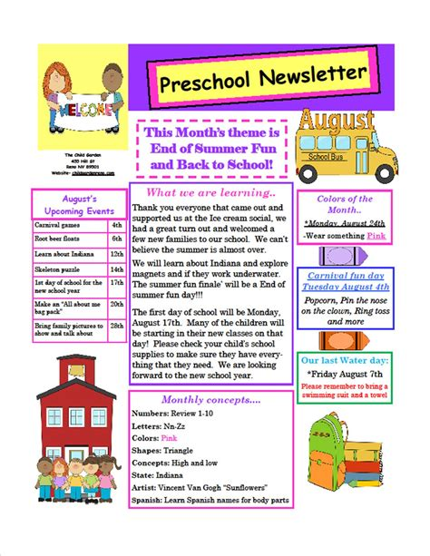 daycare newsletter templates the child garden preschool