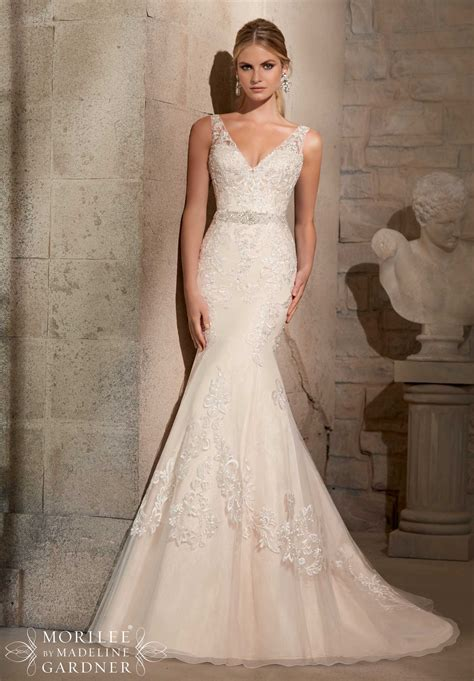 Embroidered Appliques On Net With Crystal Beading Morilee
