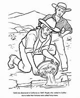 Rush Gold Coloring Pages California 1849 Miners Miner History Panning Mining Printables American Draw Printable Usa Verse Bible Children Google sketch template