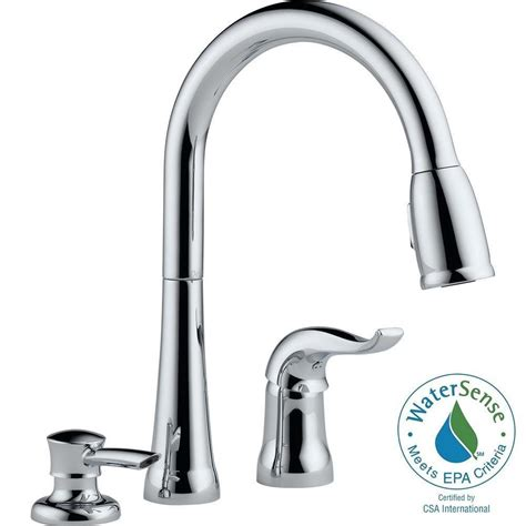 kitchen faucet with sprayer and soap dispenser delta kate single handle pull sprayer kitchen faucet
