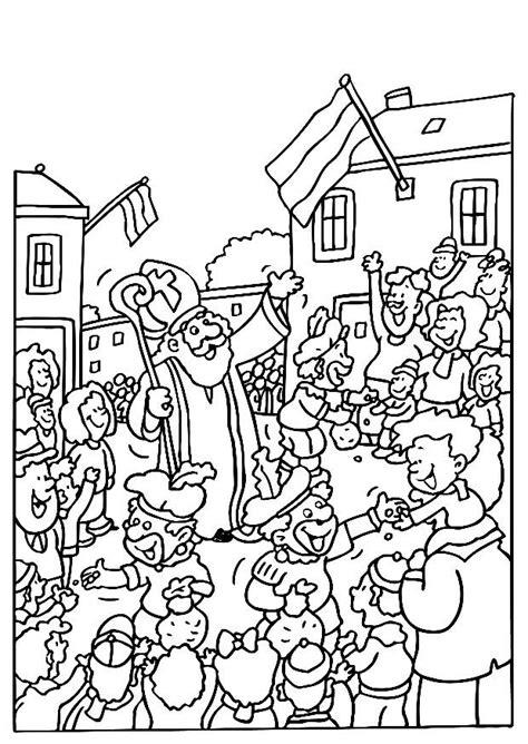 Kleurplaat Sinterklaas Komt Op Bezoke by Sinterklaas Gratis Kleurplaten