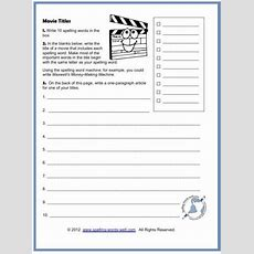 Creative Writing Worksheets For Any Spelling Words