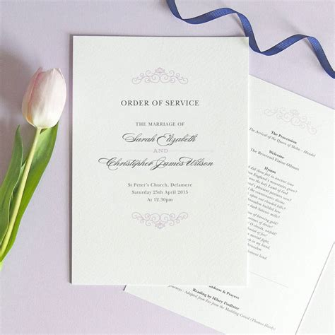 order of service wedding order of service four page booklet by project pretty notonthehighstreet