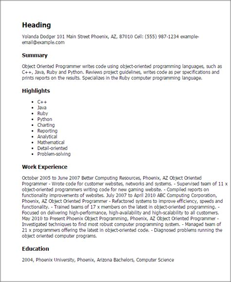 Detail Oriented Skills Resume by Professional Object Oriented Programmer Templates To Showcase Your Talent Myperfectresume