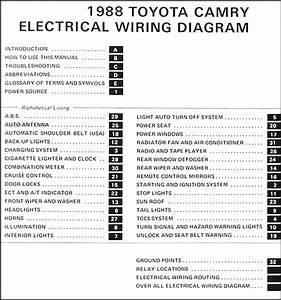 1988 5 Toyota Camry 6 Cylinder Wiring Diagram Manual Original