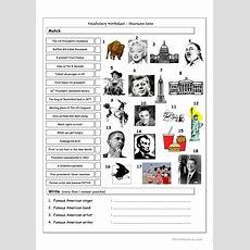 Vocabulary Matching Worksheet & Quiz  American Icons & Landmarks Worksheet  Free Esl Printable