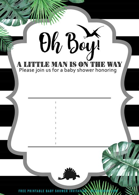 printable dinosaur baby shower invitation templates