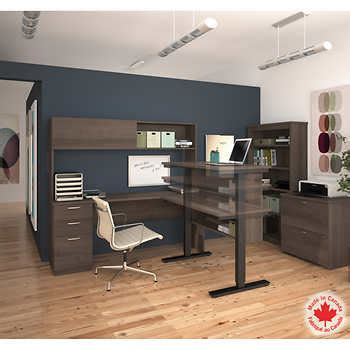 costco height adjustable desk bestar uptown ii antigua 3 piece l shape desk with height