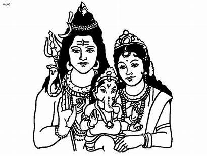 Clipart Shiv Shiva Parvati Colouring God Parvathi