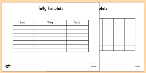 tally chart template science resource twinkl