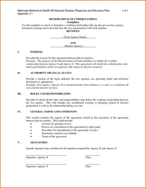 Memorandum Of Understanding Template Memorandum Of Understanding Templatereference Letters