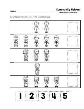 community helpers cut and paste numbers 1 5 b w worksheets worksheet store community