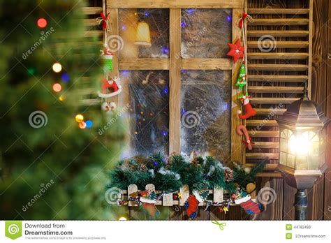 atmospheric christmas window sill decoration stock image