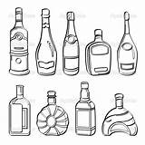 Alcohol Bottles Drawing Illustration Liquor Collection Sketch Different Wine Coloring Drawings Pages Contains Getdrawings Pdf sketch template