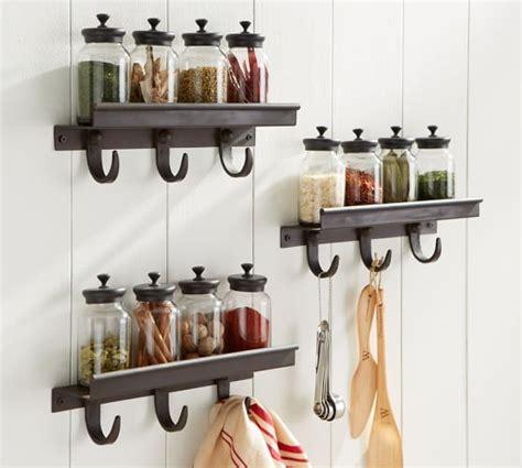 Pottery Barn Decorative Wall Hooks by Modular Spice Shelf With Hooks Pottery Barn