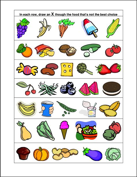 Healthy Food Worksheets For Kindergarten Health And
