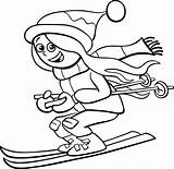 Funny Ski Snow Skiing Clip Coloring Cartoon Illustrations Kid Character Teen Winter sketch template