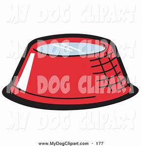 Clip Art of a Red Metal Dog Bowl Filled with Fresh Water ...