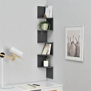 étagères Murales Design : tag re murale suspendre tag re coin tag re des livres zigzag gris achat vente meuble ~ Teatrodelosmanantiales.com Idées de Décoration