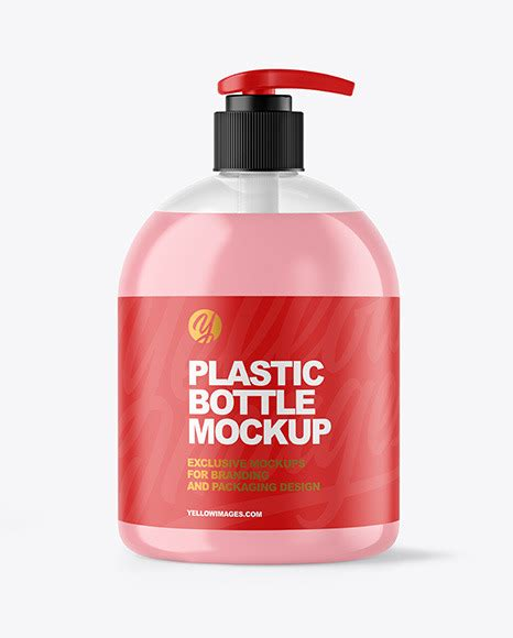 Clear glass bottle with orange juice mockup in bottle mockups on yellow images object mockups. Clear Liquid Soap Bottle with Pump Mockup