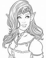 Coloring Queen Elven Colouring Adult Fantasy Deviantart Elf Elves Printable Sheets Miserie Princess Lines Lineart Warrior Drawing Line Fairy Drawings sketch template
