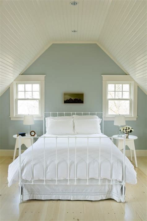 Brilliant Robins Egg Blue Bedroom with White Chandelier