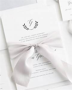 wreath monogram ribbon wedding invitations ribbon With mailing wedding invitations with ribbon