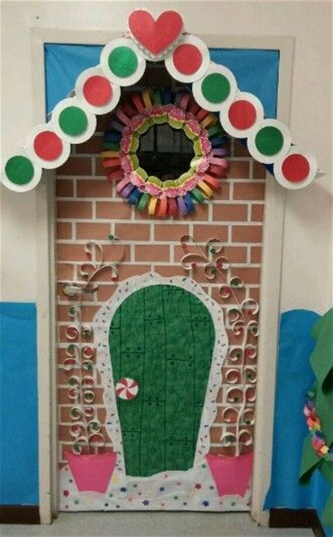 gingrbread house on school door awesome classroom decorations for winter