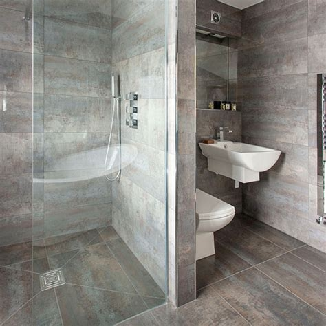 grey bathroom with walk in shower decorating ideal home