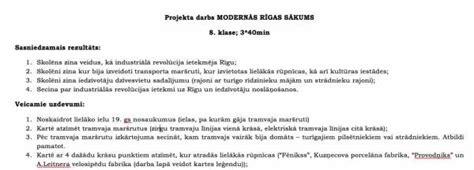 Modernās Rīgas sākums - Mācību materiāli