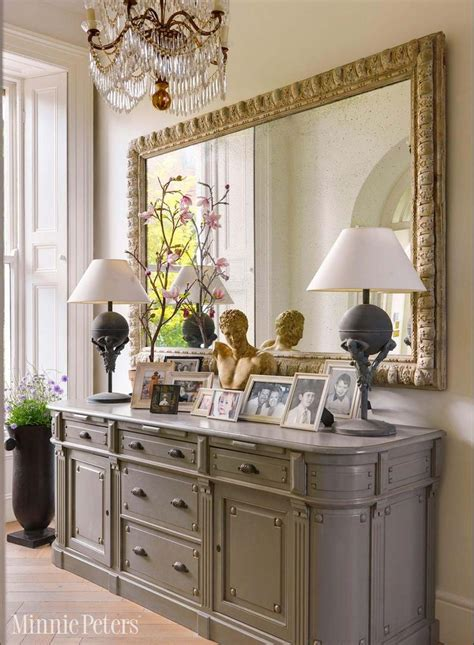 entrance hall with sideboard and large mirror traditional decor pinterest entrance