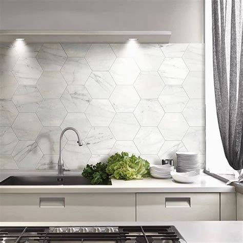 stylish hexagon tiles  kitchen walls