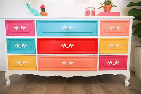 Colorful Painted Dresser Diy